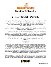 WeatherStrong Outdoor Warranty